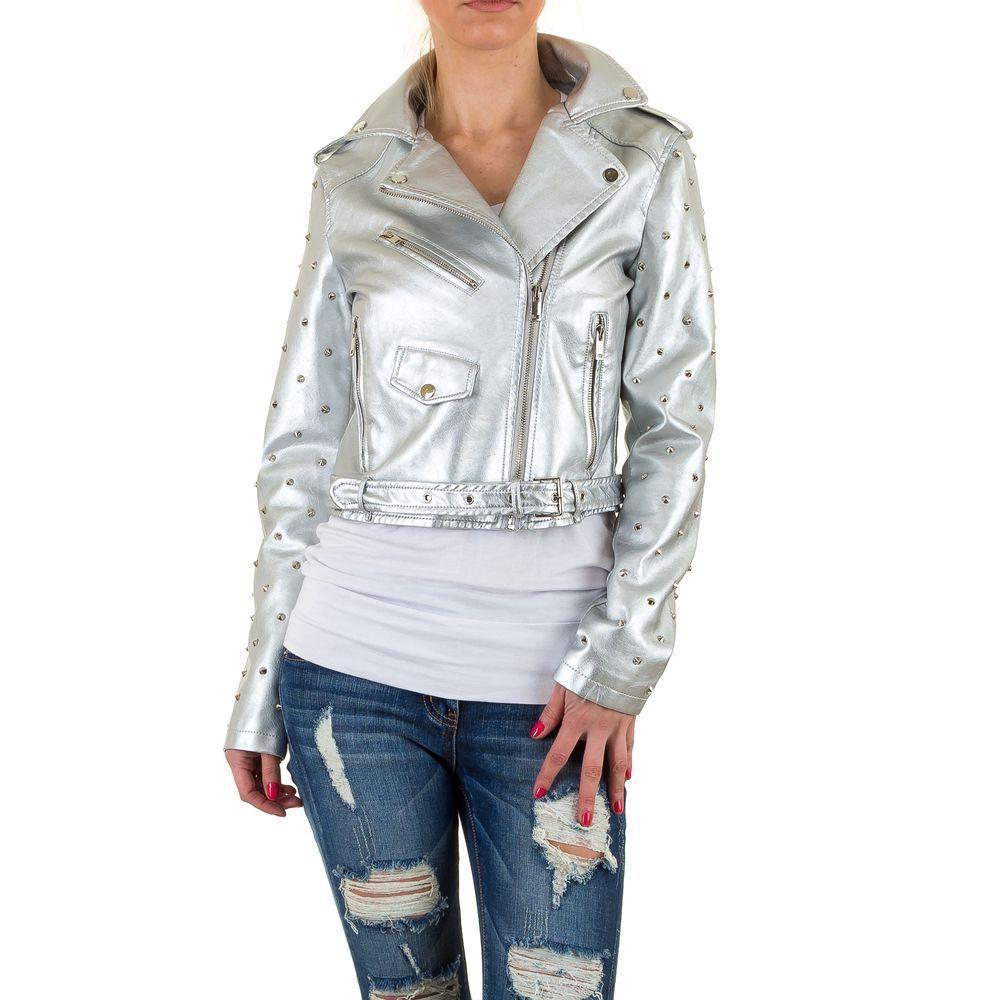 Куртка косуха женская с заклепками Noemi Kent (Франция), Серебряный
