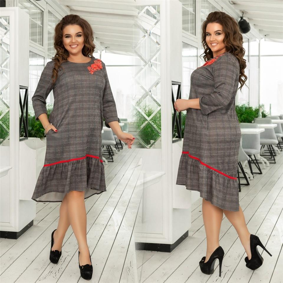 Женское ангоровое платье Тёмно-бежевое. (2 цвета)  Р-ры: 48-58 (138)989-2.