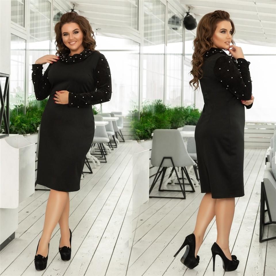 Женское трикотажное платье с жемчугом Чёрное. (3 цвета) Р-ры: 48-58 (138)993-2.