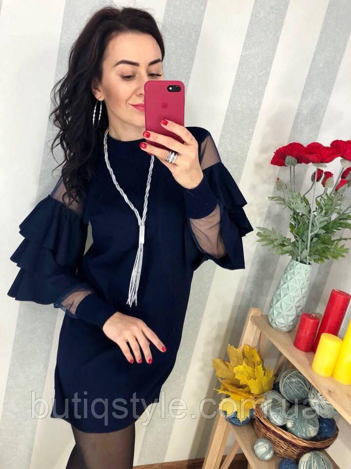 Стильное женское платье с сеткой на рукавах и воланами светло-серое, фиолет, хаки. фуксия