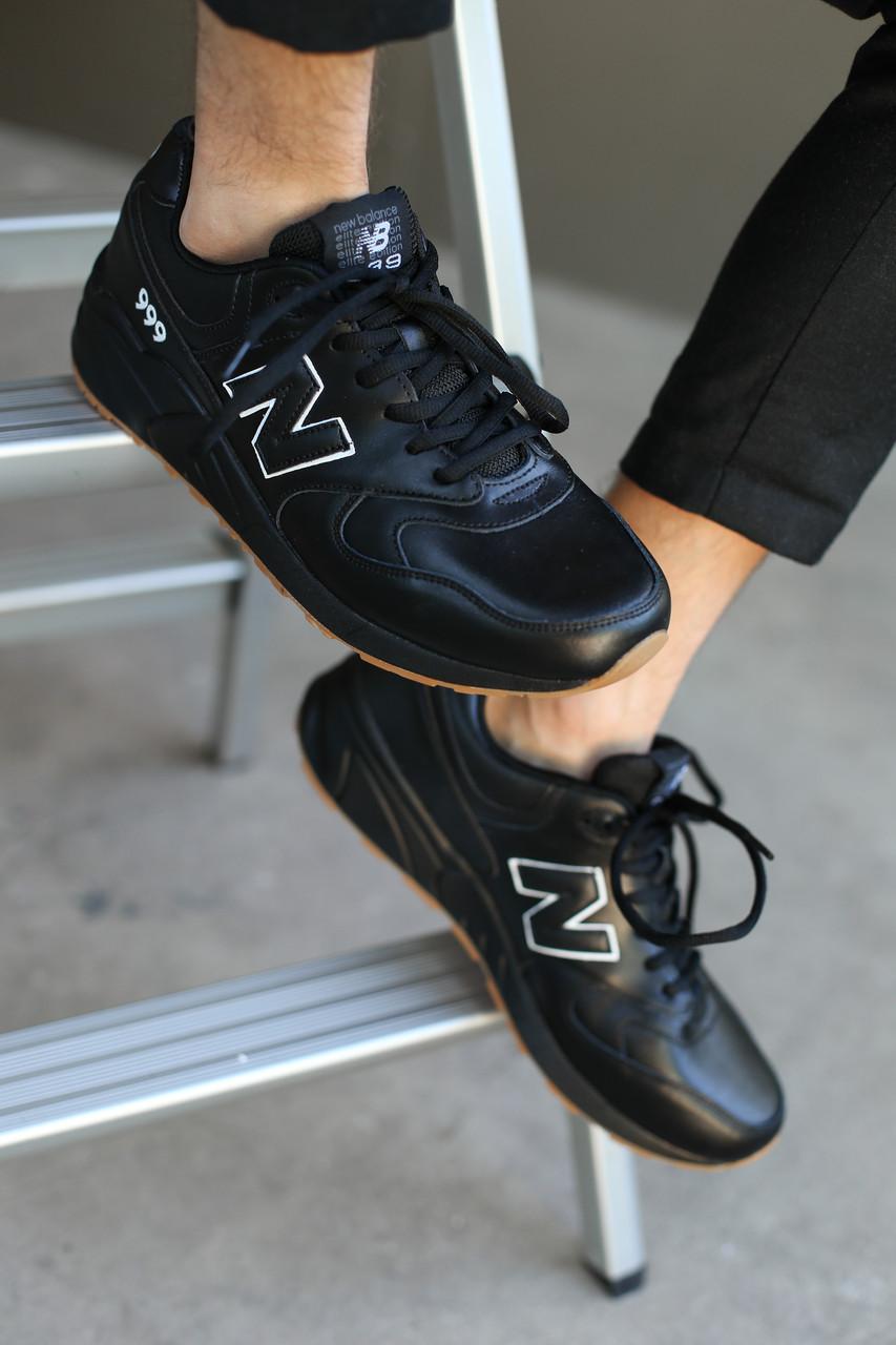 Кроссовки мужские  New Balance.Кожа/Черные (р.41-47)