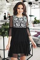(S, M) Комбинированное коктейльное платье Gven, белый