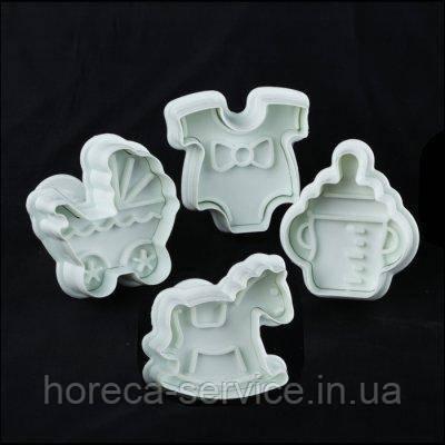 """Плунжер пластиковый для мастики""""Детский""""(набор 4 шт)"""