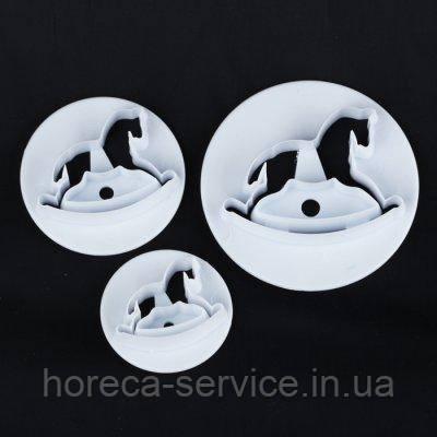 "Плунжер пластиковый для маастики""Лошадки мини""(набор 3 шт ), фото 2"