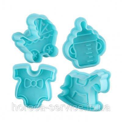 """Плунжер пластиковый для мастики""""Детский цветной""""(набор 4 шт)"""