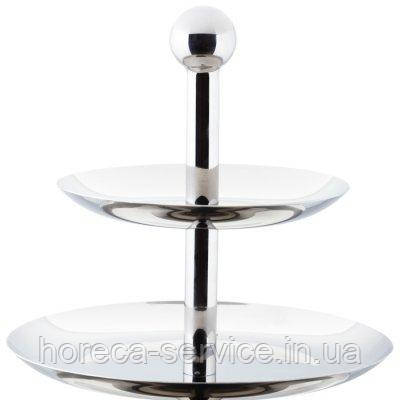 Конфетница {фркутовница} двухъярусная нержавеющая круглая H 220 мм (шт)