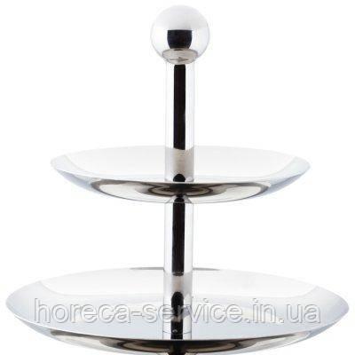 Конфетница {фркутовница} двухъярусная нержавеющая круглая H 220 мм (шт), фото 2
