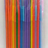 Трубочка пластиковая с длинной гофрой 260 мм. цветная 50 шт., фото 2