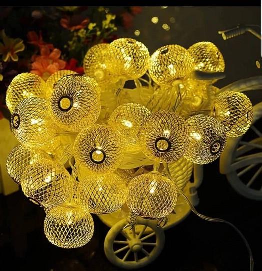 Гирлянда ажурная декоративная Vipolimex Pink Gold длина 1,8 метра теплый золотой Warm Gold