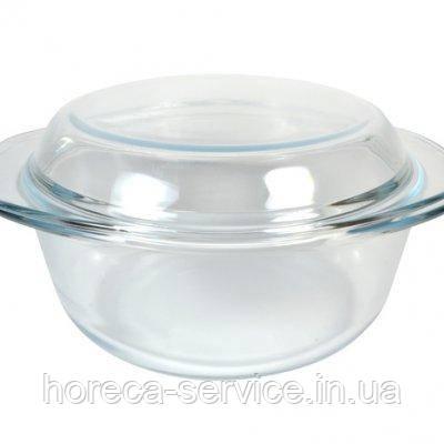 Кастрюля стеклянная круглая жаропрочная с крышкой V 2200 мл (шт), фото 2