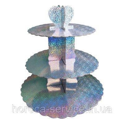 Стенд трёхъярусный картонный для капкейков круглый серебрянного цвета с голограммой (шт), фото 2