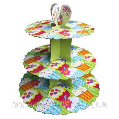 Стенд трёхъярусный картонный круглый для капкейков зелёного цвета (шт), фото 2