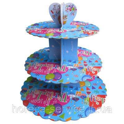 Стенд трёхъярусный картонный круглый для капкейков лазурного цвета (шт), фото 2