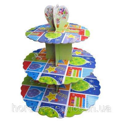 Стенд трёхъярусный картонный круглый для капкейков разного цвета (шт)