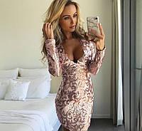 Платье сетка и пайетки, длинный рукав. Китай, расцветки , фото 1