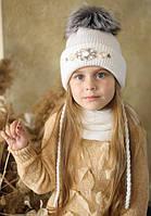 """Зимняя шапка для девочки с меховым помпоном """"Луиза""""., фото 1"""