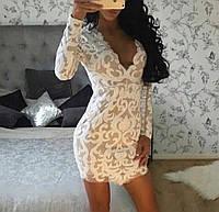 Платье  пайетки узорами, длинный рукав. Китай