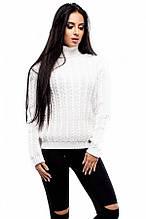 S-L / Стильный вязаный свитер Kristina, белый