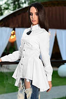 XS, S, M, L / Молодежная асимметричная рубашка Charm, белый