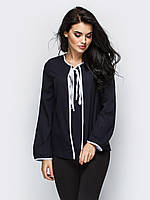 S, M, L / Женская молодежная блузка на завязке Kira, темно-синий