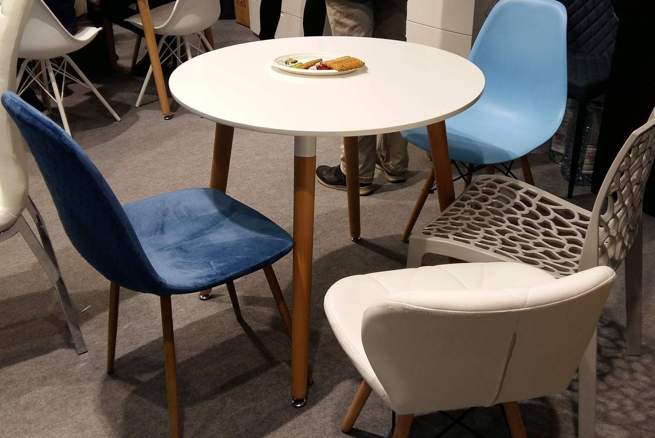 Обеденный стол в скандинавском стиле круглый нераскладной  DT-9017  Evrodim, цвет белый