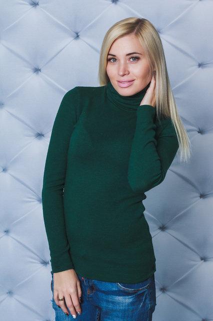 Водолазка женская шерсть зеленая