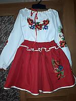 Вишиванка вишитий костюм Маки хрестик 8-9 років спідничка+блузка машинна  вишивка c3253ad2fa2dd