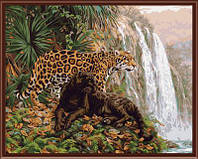 Рисунок по цифрам Хищники у водопада (BK-GX6514) 40 х 50 см  [Без коробки]