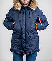Парка зимняя мужская Olymp теплая молодежная стильная (синяя), ОРИГИНАЛ