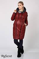 Длинное зимнее двухсторонне пальто для беременных из плащевки лаке на силиконе (до -15º) Kristin OW-46.065