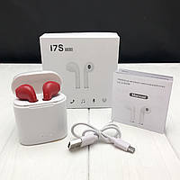 Беспроводные наушники I7s TWS Bluetooth c кейсом аналог Apple AirPods красные