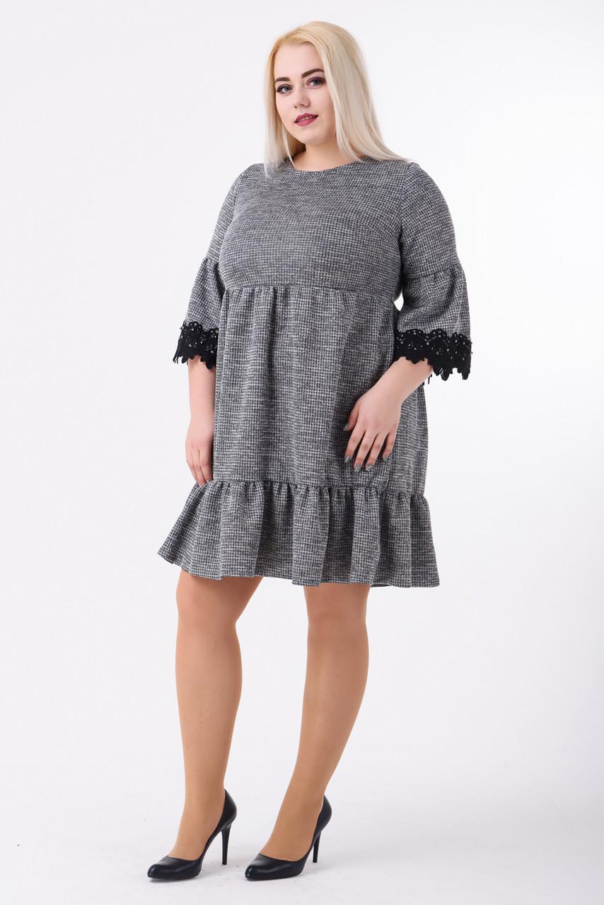 8ceccaa9d66 Модное платье джерси рукав три четверти с кружевом(серый) купить в ...