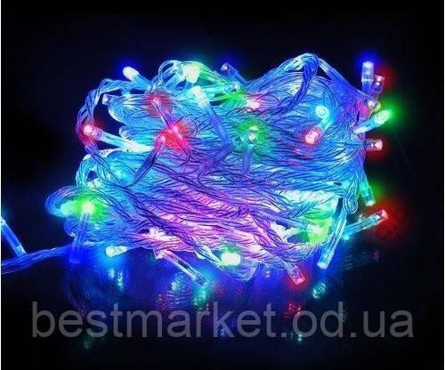 Новогодняя Светодиодная Гирлянда Нить на Елку Внутренняя 100 LED Лампочек Мульти