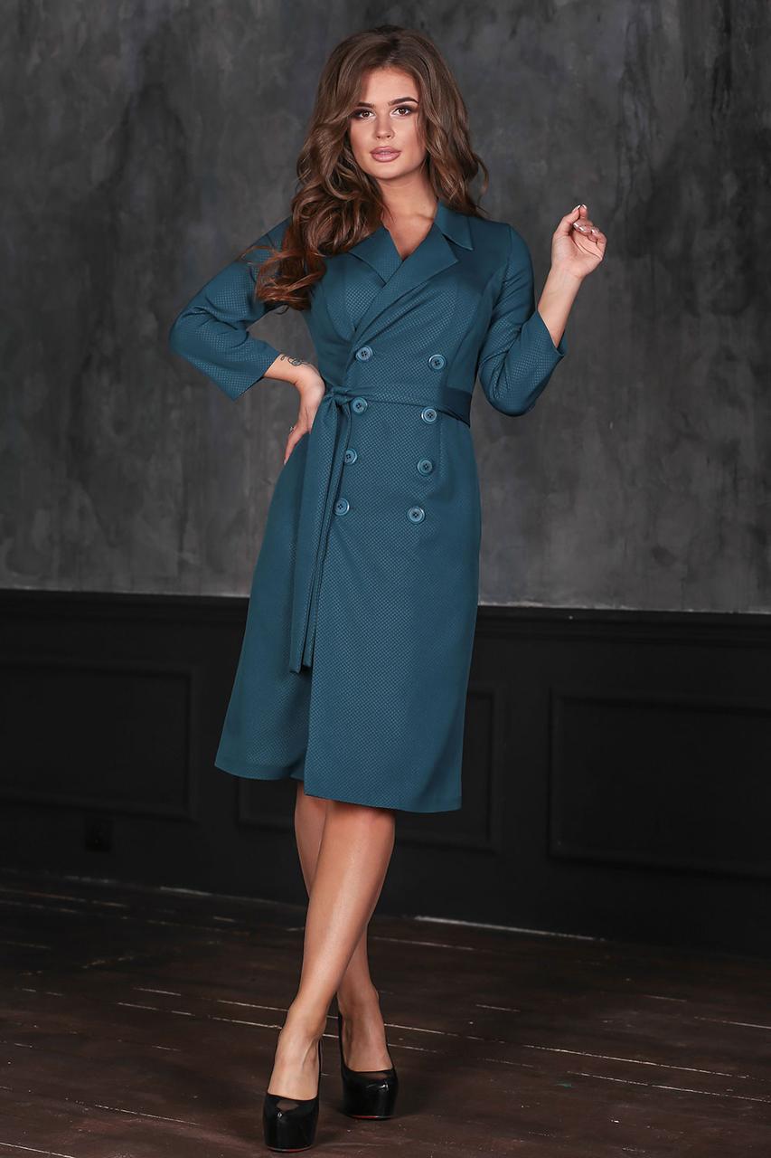 Джоли темно-бирюзовое Платье на пуговицах