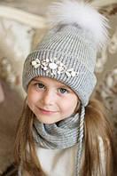 """Зимняя шапка для девочки с меховым помпоном """"Луиза""""."""