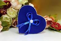 Коробочка-сердечко для обручальных колец Bonita синий