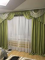 Лляные шторы и ламбрекен Kate (оливковые)