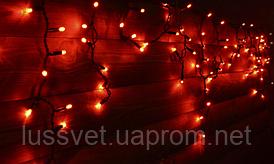 Гирлянда бахрома светодиодная Holiday ICICLE 90LED 2*0,5 красная (бел./черн. кабель)