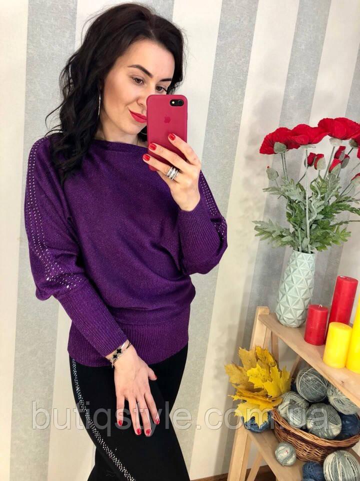 Красивая женская удлиненная кофта с люрексом красная, фиолет, антрацит