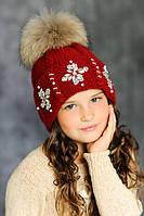 """Зимняя шапка  с меховым помпоном """"Эльза""""."""