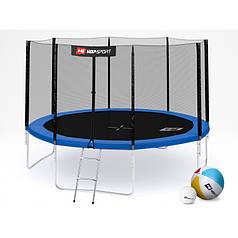 Батут із зовнішньою мережею Hop-Sport 366 см Blue