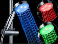 Светодиодная насадка-лейка для душа aqua show, 4 цветовых режима, водная турбина, работает без батареек