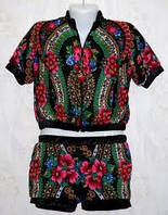Костюм-шорты платок в стиле Матрешка