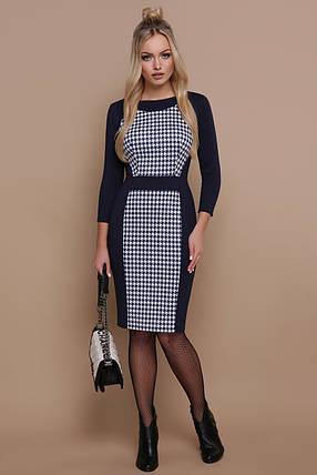 Демисезонное платье миди приталенное принт рукав три четверти синее, фото 2