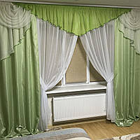 Комплект штор с ламбрекеном и тюлем Bella3 (зелень)