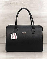 Деловая сумка 31139 саквояж черная классическая фурнитура серебро, фото 1