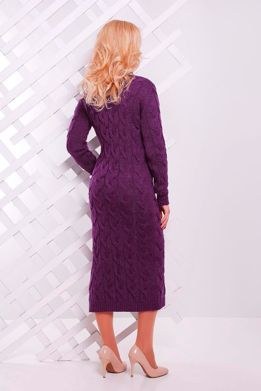 длинное вязаное платье с разрезами по бокам баклажан купить в