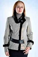 Женская замшевая куртка с мехом норки.