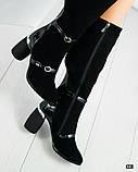 Демісезонні чорні замшеві чоботи на круглому підборах, фото 3