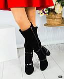 Демісезонні чорні замшеві чоботи на круглому підборах, фото 4